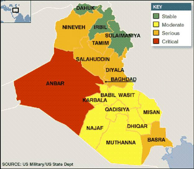 iraq stability map april 2006 source us militaryus state dept